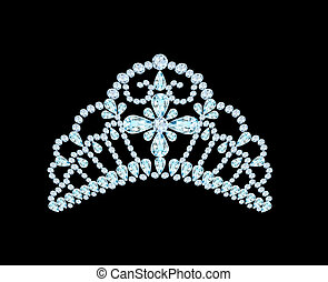 feminine wedding diadem crown on black - illustration...
