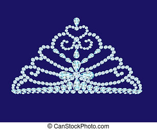 feminine wedding diadem crown on blue - illustration...