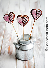 Valentine cookie pops - Chocolate filled heart cookie pops...