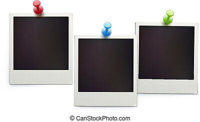retro polaroid photo frames - Vector illustration of three...