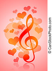 Love and Music - Valentines Day background with love hearts...