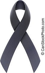 Black Awareness Ribbon - Vector illustration of mourning...