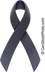 Black Awareness Ribbon - Vector illustration of mourning...