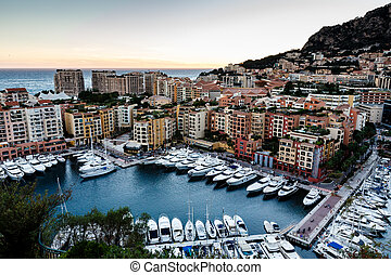 Aerial View on Fontvieille and Monaco Harbor with Luxury...