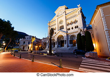 Facade of Saint Nicholas Cathedral in Monaco, Monte Carlo,...