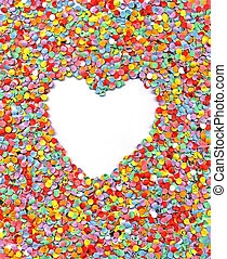 love, heart, confetti, background - abstract heart on...