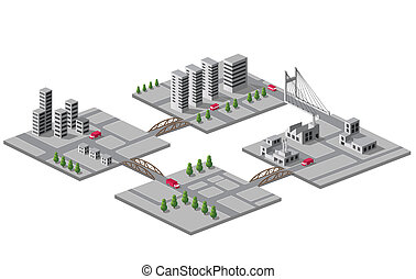 Bridges - Set of vector icons of isometric on the city