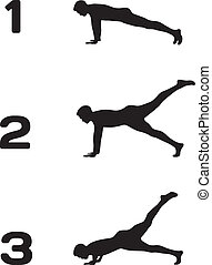Man doing push ups in three steps black silhouettes on white...
