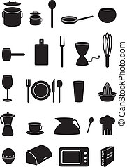 Kitchen icons set, silhouettes - Kitchen icons set, black...