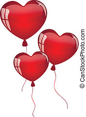 red balloons in the shape of heart