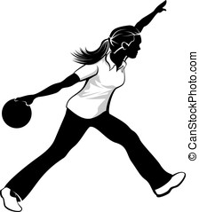 Female Bowler - Black and white silhouetted vector...