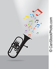 Trumpet poster on gray background - Trumpet silhouette in...
