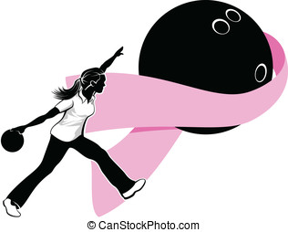 Woman Bowler with Breast Cancer Rib - Black and white...