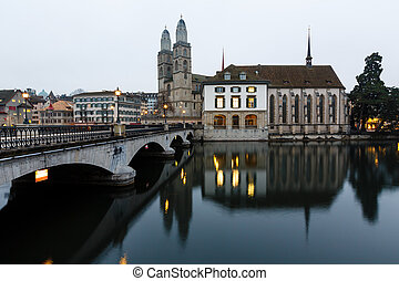 View on Grossmunster Church and Zurich Downtown in the...