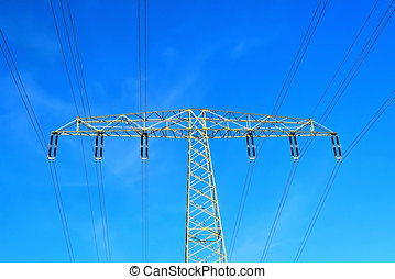 Power pole and blue sky