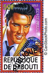 Elvis Presley - DJIBOUTI - CIRCA 2011: A postage stamp...