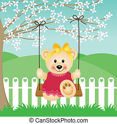 Little Bear on Swing - Scalable vectorial image representing...