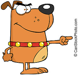 Angry Dog Finger Pointing Cartoon Character