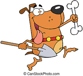 Running Dog With A Bone And Shovel - Running Brown Dog With...