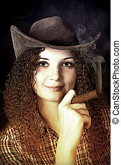 pretty curly girl the cowboy with a cigar dark background