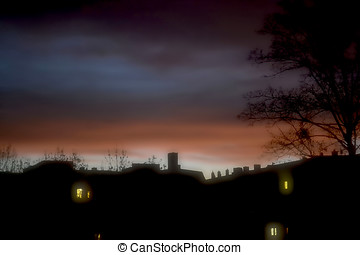 Silhouette of houses in the early morning