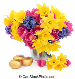 Easter Floral Beauty - Tulip, daffodil and hyacinth flower...
