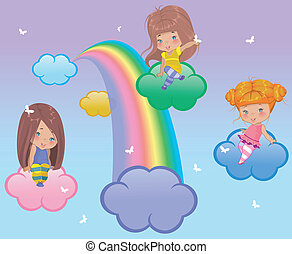 Three little girls flying in the clouds