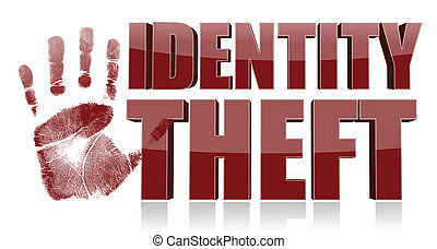 hand print with identity theft text. illustration design
