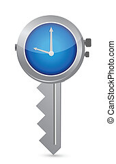 Clock-Key Concept of Successful time management illustration...