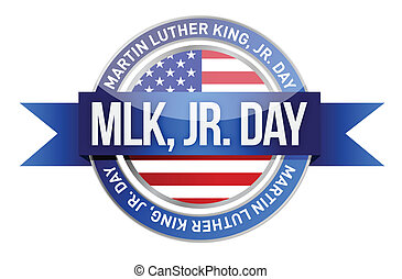 Martin luther king jr. us seal and banner illustration...