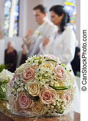 Wedding bouquet with couple