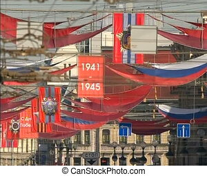 Demonstration of the red banner - Festive Parade and...