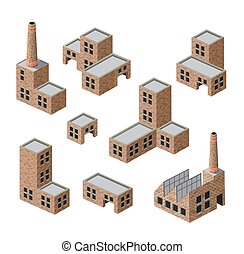 buildings of brick - Vector isometric images of industrial...