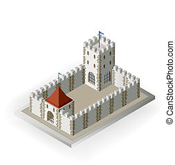 Castle - Isometric view of a medieval castle on a white...