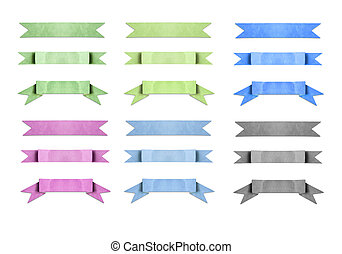 mixed color used paper banner ribbon on white