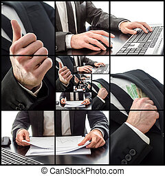 Business collage with cropped photos of businessman's hands.