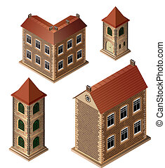 Old buildings - A set of isometric medieval buildings on a...