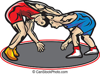 Fight, wrestling - This file represents two muscular young...