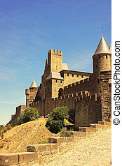 The walled fortress of Carcassonne, France - The outer wall...