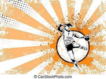 handball retro poster background - illustration of handball...