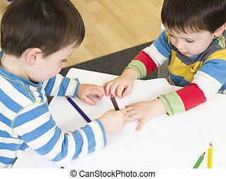 Gêmeo, meninos, desenho, mão, formas