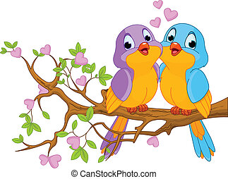 Birds in Love - Two lovebirds sitting on blossom a tree...