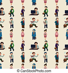 seamless office worker pattern,cartoon vector illustration