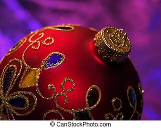 Shiny red Christmas ornament with glitter - Round Christmas...