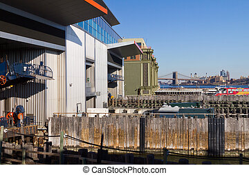 Staten Island Ferry Docks in Lower Manhatten New York City