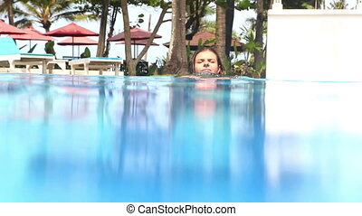 Swimming   - Beautiful young woman in bikini swimming