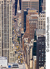 Taxi Cabs and Cars on a New York Street - New York Street...