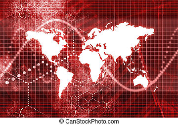 Spreading Worldwide Abstract Wallpaper Background in Red...