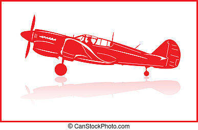 Fighter planes - World War 2 fighter plane in red silhouette...