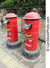 red letter boxes in india - two red letter boxes in india